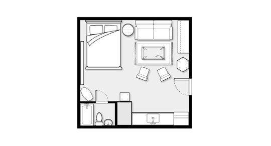 Alexis Unique Details 320 Square Feet One Square Room