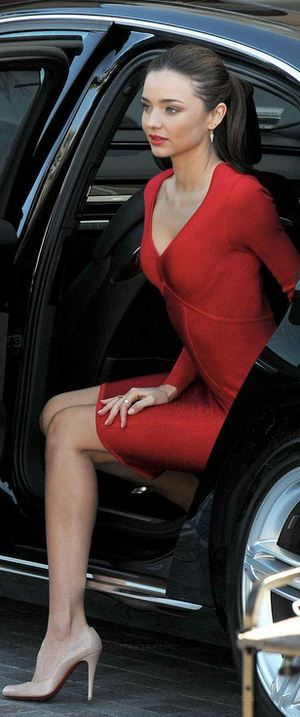 Miranda Kerr-red dress, nude heels, slicked back ponytail- ~LadyLuxury~