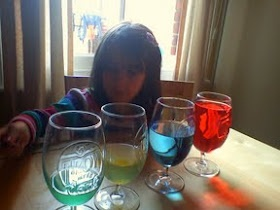 Set up glass with different amounts of water in them and let the children explore the different noises from amount of water.