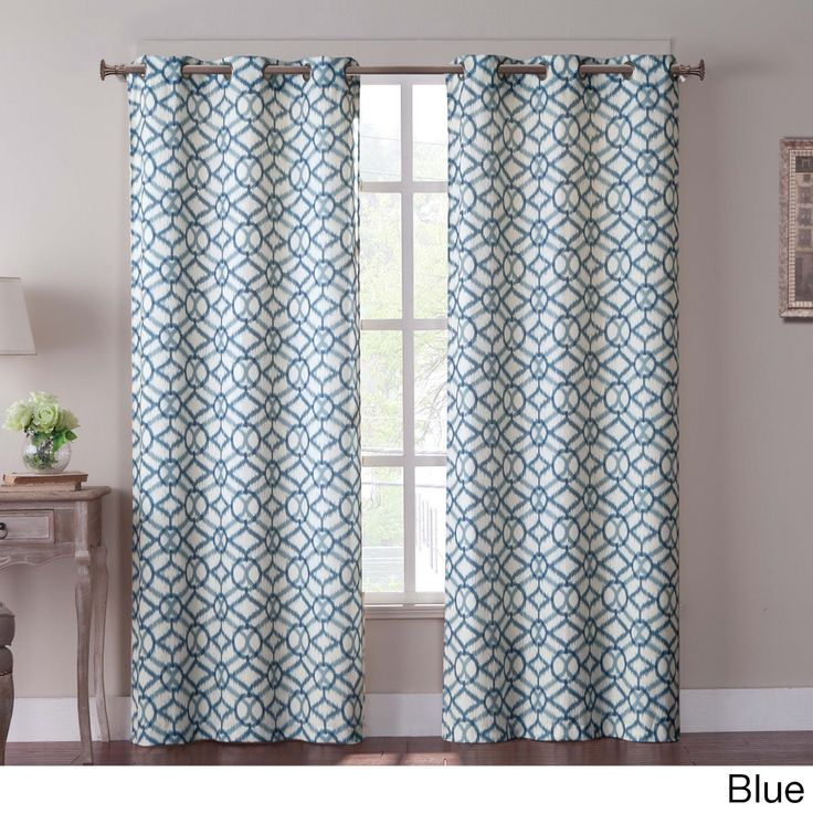 Measuring 84 inches long, these panels feature a busy ikat-inspired pattern available in three different color schemes. A soft blend of cotton and polyester, the two-panel set is easily machine washable.