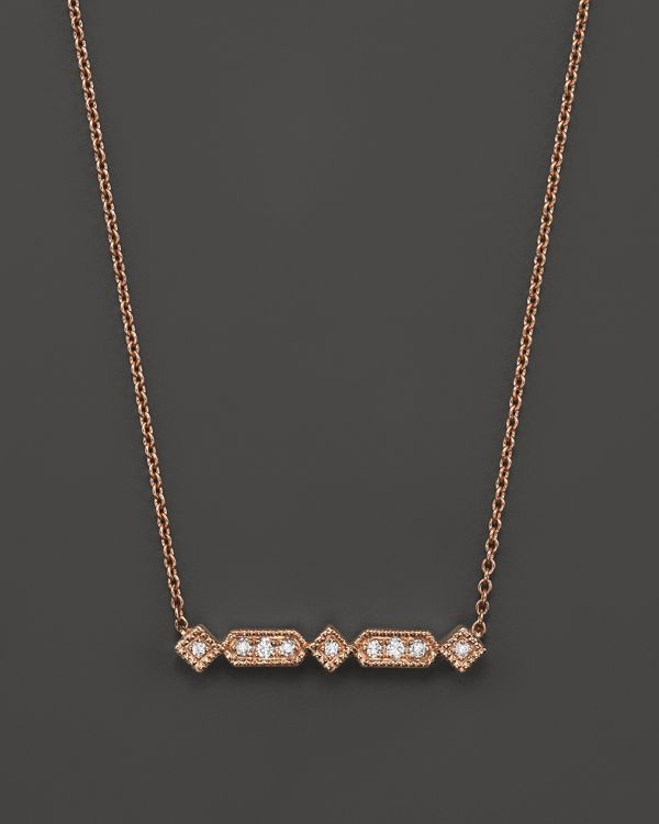 Dana Rebecca Designs 14K Rose Gold Bar Geometric Bar Necklace with Diamonds, 16""