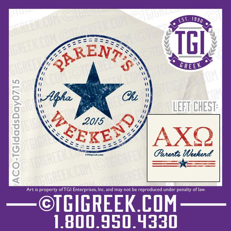TGI Greek - Alpha Chi Omega - Sorority Parents Weekend - Greek T-shirts - Parents Weekend #tgigreek #alphachiomega