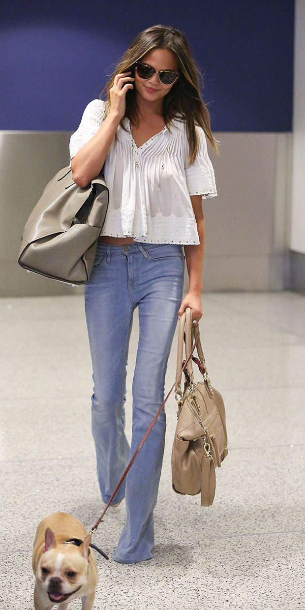 Chrissy Teigen puts a modern spin on a '70s look // #CelebrityStyle