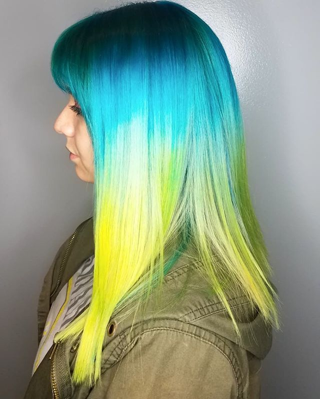 Shine Line With Yellow Blue And Green Hair Vividhair Yellow Hair Green Hair Lavender Hair