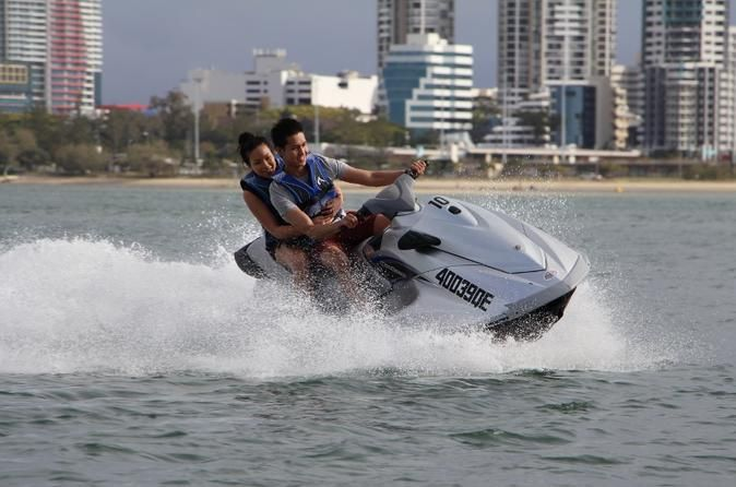 Gold Coast Combo: Jet Ski Hire, Parasailing and Flyboard for Two Combines three watersport activities on the Gold Coast including a 30-minute jet ski hire to share, tandem parasail (8 minutes in the air) and a 15-minute flyboard session for each person.Combine three experiences and choose a 30-minute jet ski hire to share, a 15 min Flyboard introduction for each person and tandem parasail for 2 people to share. Fly high like Iron Man and dive like a dolphin with the newest ext...