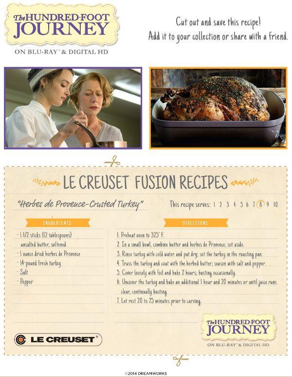 100 Foot Journey Recipe - Herbes de Provence Crusted Turkey