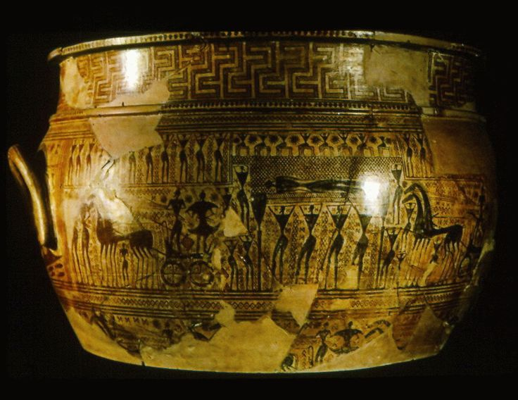 VASO GEOMÉTRICO DE DYPILON. Ceramica, s. IX-VII a. C., conservado en el Museo Louvre.