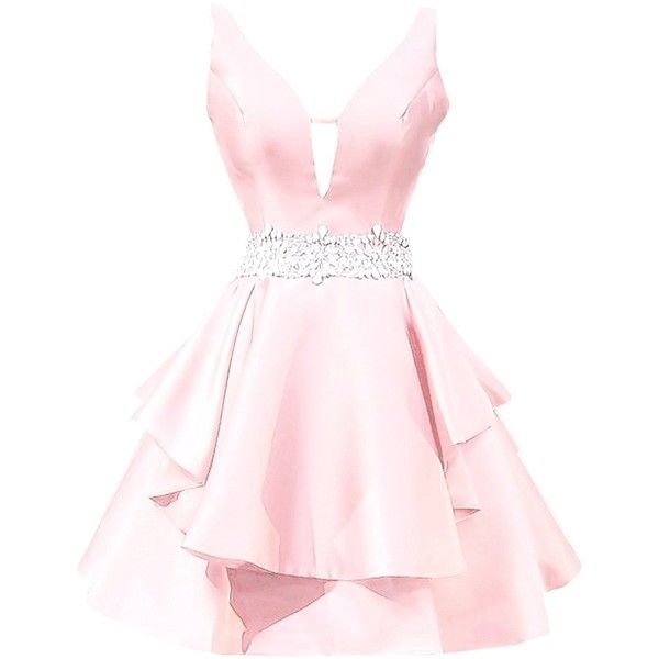 Icy Sun Women's V Neck Crystals Homecoming Dresses A Line Satin Short... ($68) ❤ liked on Polyvore featuring dresses, gowns, v neck homecoming dress, a-line dresses, short a line dresses, short pink dress and homecoming dresses