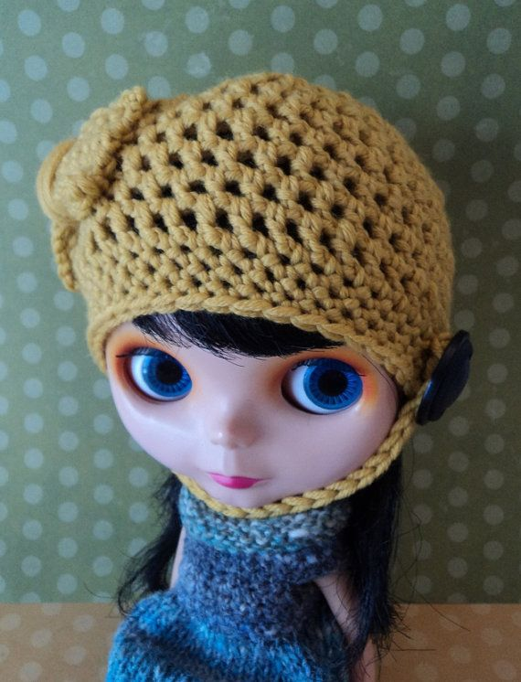 So Soft Mustard Helmet Bow for Blythe by Keur on Etsy, $20.00