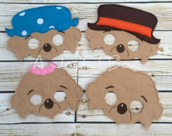 Bear Family dress up and party favor masks, berenstain bears, mama bear, papa bear, sister bear, brother bear