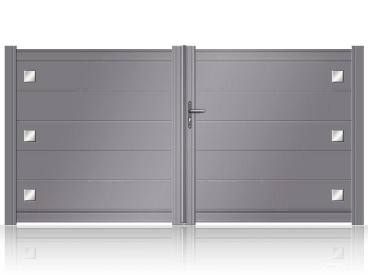 Portail aluminium battant NIORT avec lames larges et décors inox brossés
