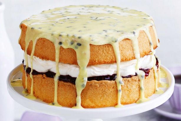 Create a light and fluffy family dessert with this layered passionfruit and raspberry sponge cake.
