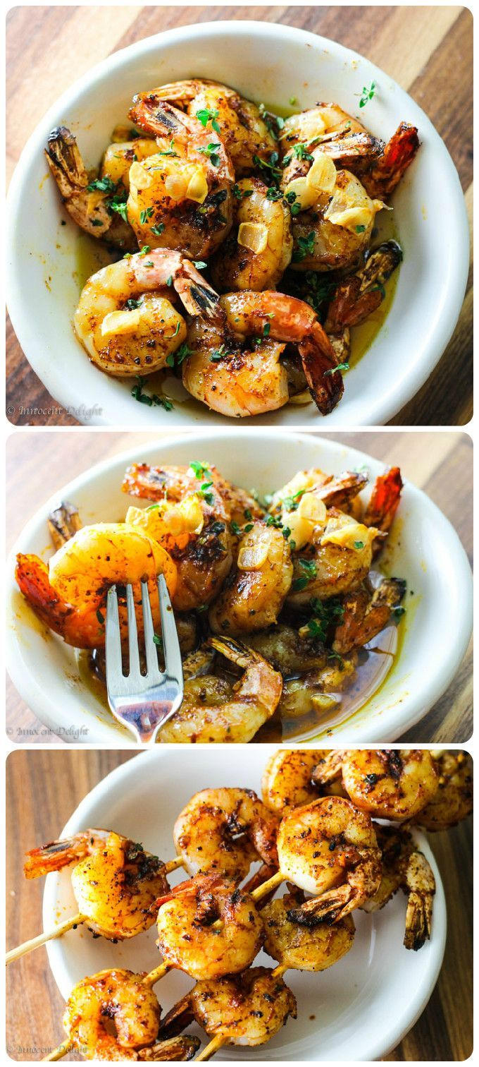 Grilled shrimp topped with garlic olive oil sauce.