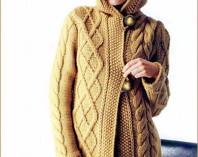Tejido a mano de las mujeres chaqueta con capucha de cableados de cachemira de cuello de cardigan chaqueta tejida a mano Vestido de suéter de lana mujeres ropa