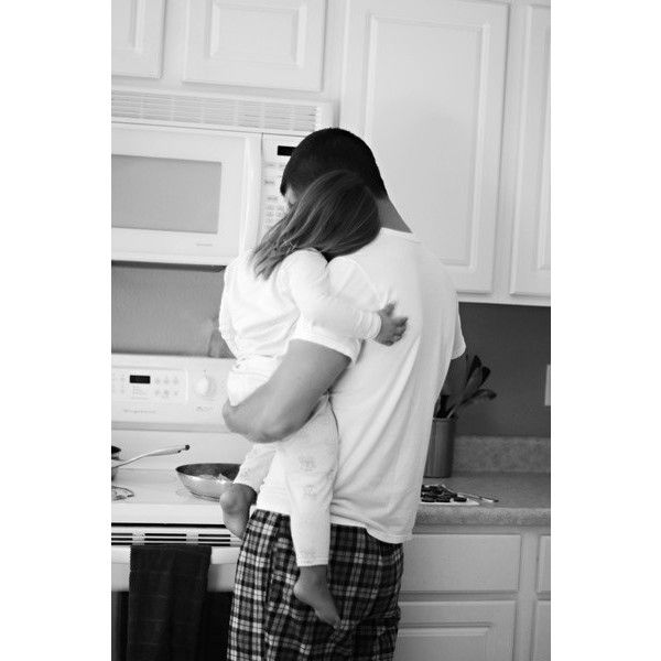 girl baby white Little dad b&w black breakfast sleepy pants kitchen... ❤ liked on Polyvore featuring photo and kids