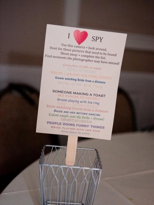 Great way to get guests involvedIdeas Wedding, Wedding Receptions, Photos Ideas, Dispo Cameras, Disposal Cameras, Cute Ideas, Wedding Photos, I Spy, Wedding Details