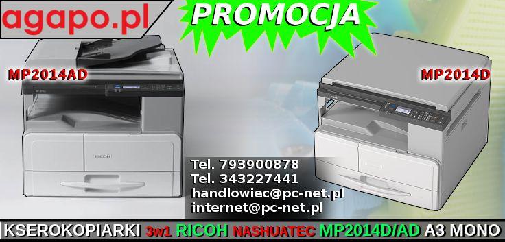 Kserokopiarka Nashuatec MP2014D/AD to urządzenie monochromatyczne formatu A3, oparte na języku druku GDI. Wyposażone w kolorowy skaner, pozwalający zdigitalizować obraz w rozdzielczości 600 dpi. MP2014D drukuje oraz kopiuję z prędkością 20 stron na minutę, oraz posiada w standardzie moduł drukowania dwustronnego. Standardowa pojemność papieru to 250 arkuszy umieszczane w kasecie oraz 100 arkuszy umieszczane w tacy ręcznej.