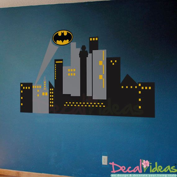 1000 images about superhero wall decals murals on for Batman cityscape wall mural