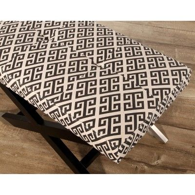 Cairo Upholstered Fabric Ottoman - Black and White - Abbyson