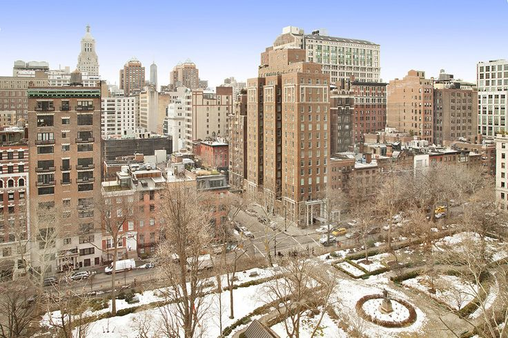 New York City Boroughs ~ Manhattan | View from 45 Gramercy Park North, looking south to Irving Place and the Consolidated Edison Building at East 14th Street and Irving Place (top left)