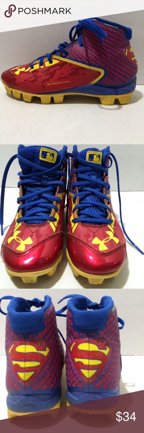 Under armour alter ego superman cleats 4 Under Armour Baseball Cleats. Youth size 4 Red blue yellow. Clutchfit Deception Has superman logo on back of heel. MLB Authentic Collection Previously owned. Good condition. No rips or tears. Clean. Measure 9 3/4 inches on bottom of sole. Approximately 8 3/4 inches on inner sole. Under Armour Shoes