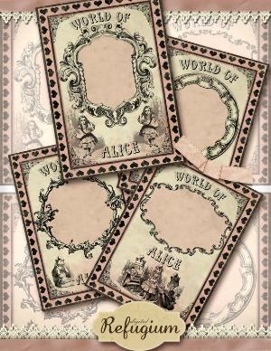 Alice in wonderland Jewelry Holders world of alice, Digital Collage sheet / Instant Download Vintage Paper Scrapbook by digitalrefugium