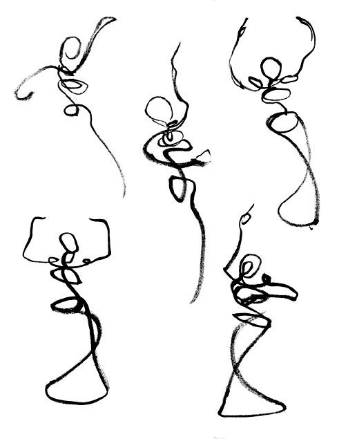 "Gesture drawings — inspiration for the October figure exhibit, ""Body Language."""