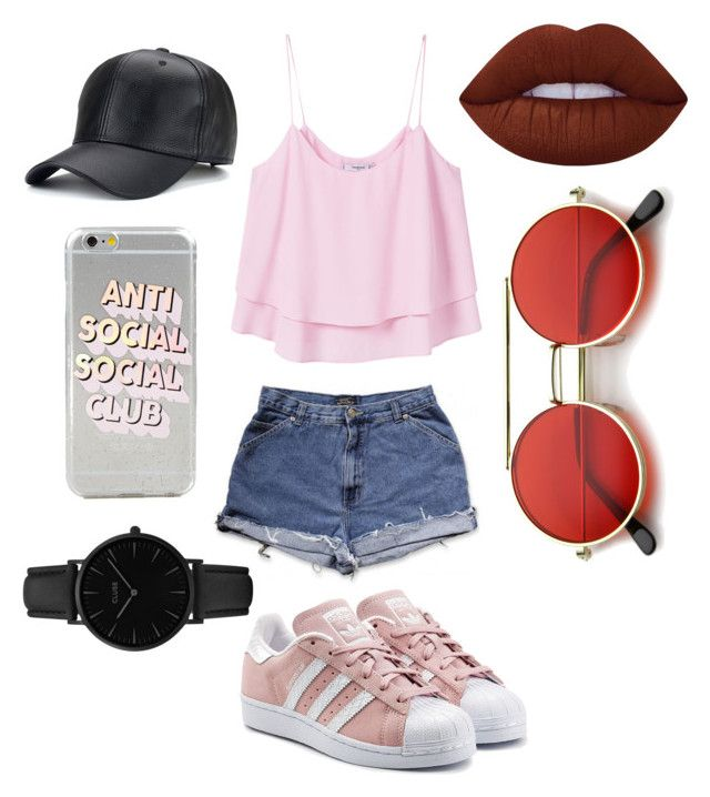 """🐷"" by sophievanderkooy on Polyvore featuring MANGO, adidas Originals, CLUSE, Lime Crime and ZeroUV"