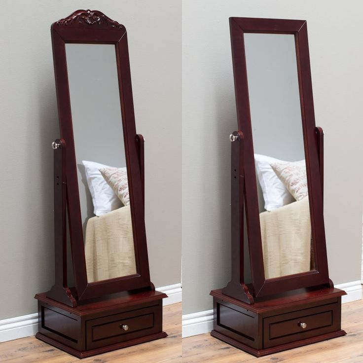Belham Living Removable Decorative Top Cheval Mirror - Cherry - 21.5W x 60H in. - GH15947