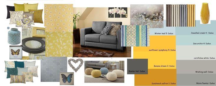 Mustard Grey Blue Living Room Inside Living