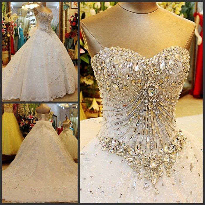 >> Click to Buy << Luxurious Crystal Beads Ball Gown Sweetheart Wedding Dresses For Women Special Bridal Gown Customize Vestido de Noiva Plus Size #Affiliate