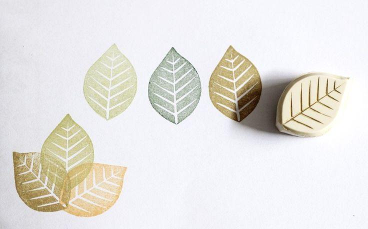Pflanzen - Blatt, Stempel, handgeschnitzt - ein Designerstück von Aure-und-En bei DaWanda