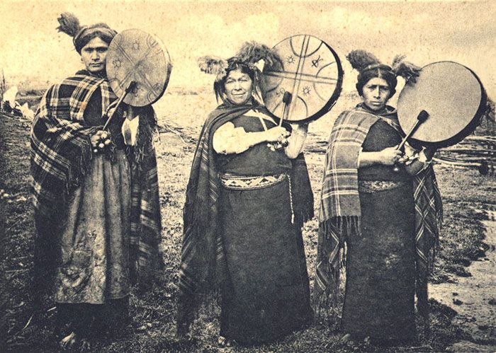 Mapuche machis—healers and shamans—photographed in 1903.