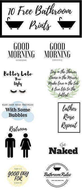 10 Free Bathroom Printables for any bathroom, any decor and it's free!