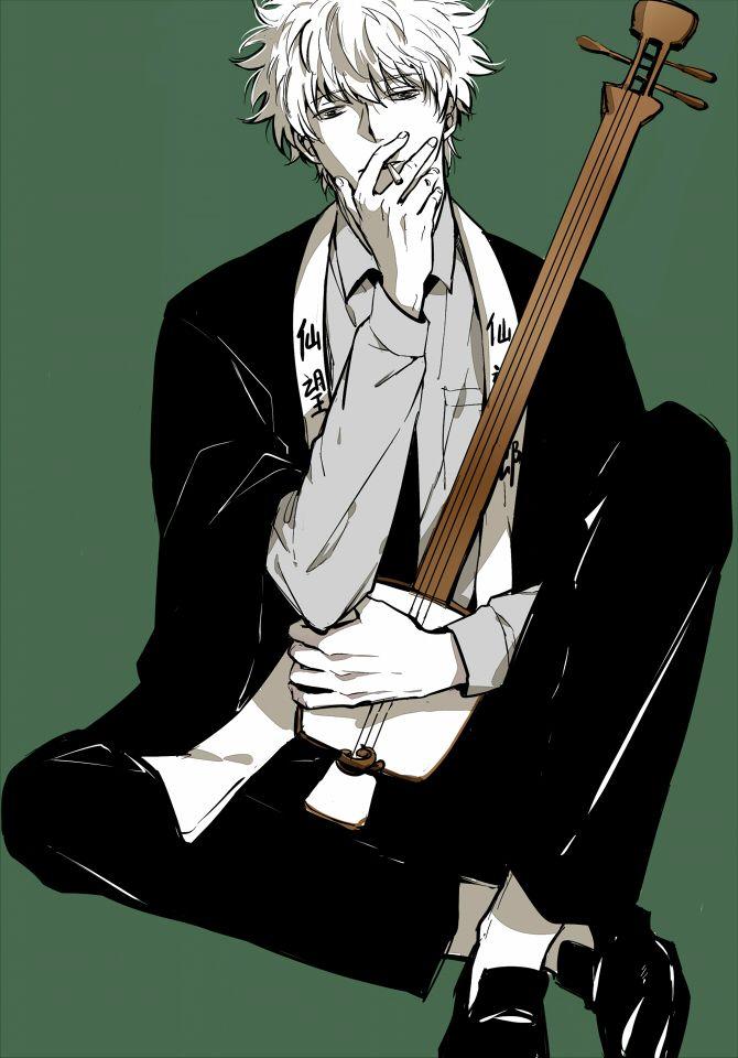 Tags: Anime, Gin Tama, Music, Cigarette, Sakata Gintoki, Green Background, Feiqiuxuan
