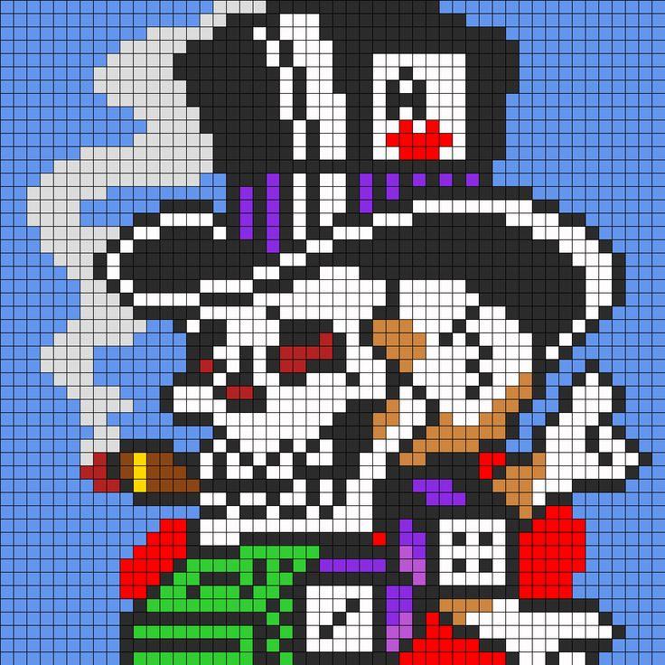 Ed Hardy Skull In Top Hat For Perler bead pattern