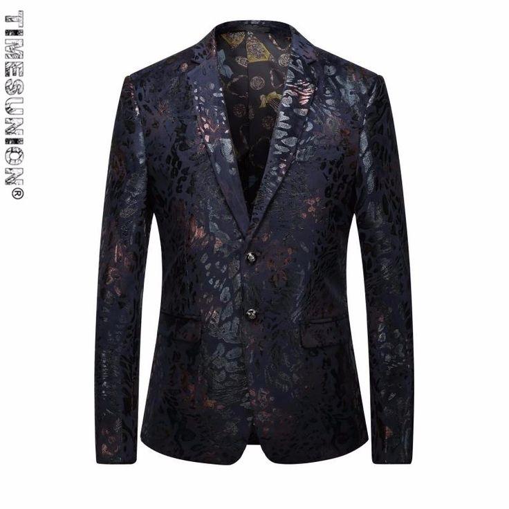 Red Blazer Men Paisley Floral Pattern Wedding Suit Jacket Slim Fit Stylish Costumes Stage Wear For Singer Mens Blazers Plus 5XL