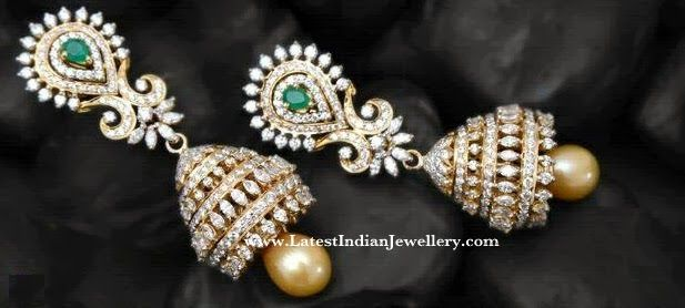 Designer Diamond Long Jhumkas