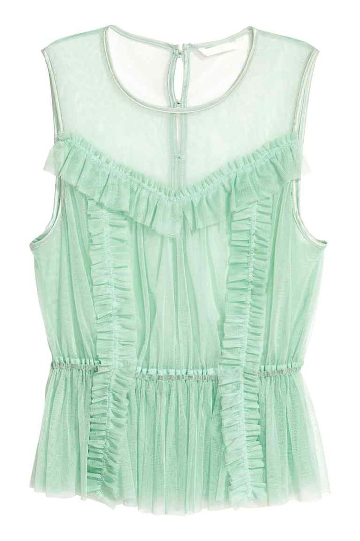 Top van mesh met volants - Mintgroen - DAMES | H&M BE