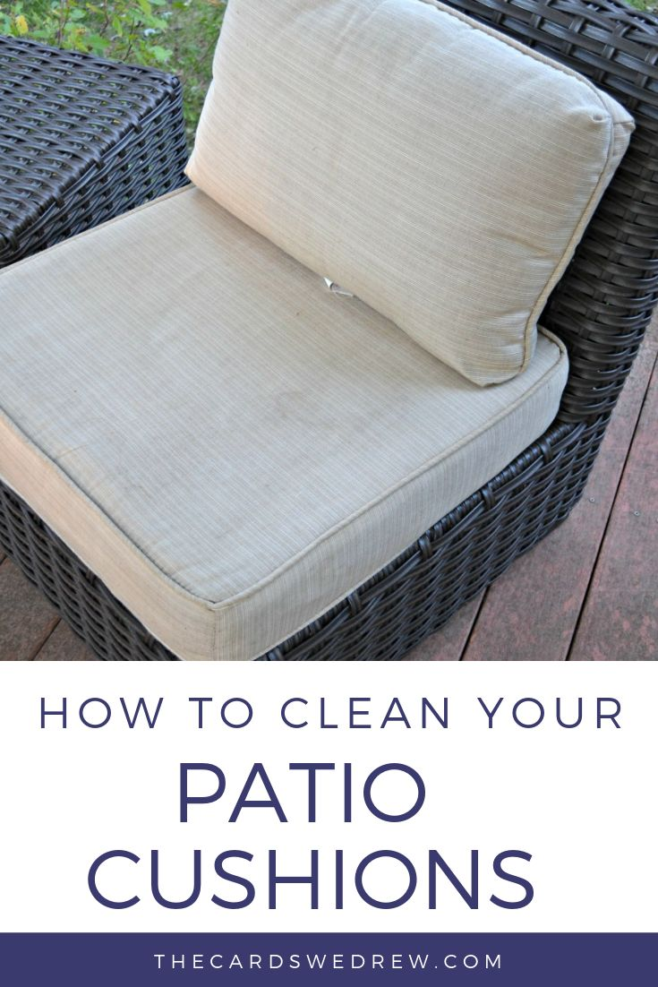 How to clean outdoor patio cushions, how to remove mildew and stains, and make your deck sparkle with well appointed patio furniture! #outdoor #patio #cushions #howto