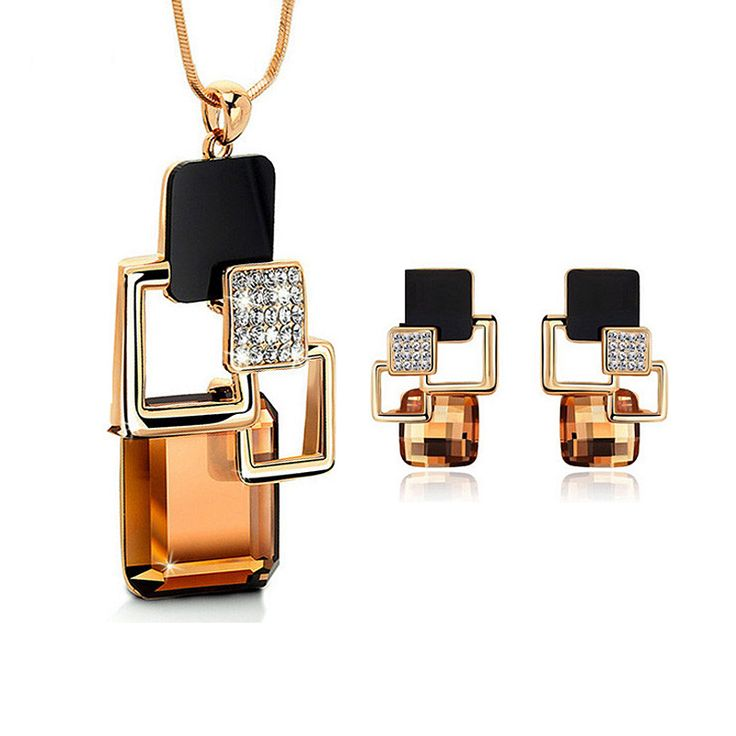 European and American fashion personality Golden Hollow Geometric Big Crystal Stone Jewelry Sets for women Party Accessories