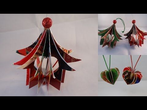 """Recycled Christmas Card """"Heart House"""" Ornament - with yoyomax12 - YouTube"""
