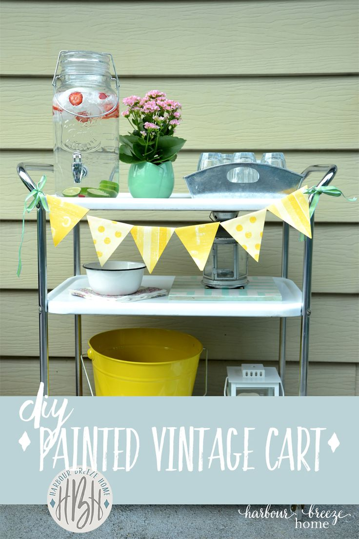 *Vintage Cart Makeover* Once an eyesore of rusted metal shelves and legs covered with strange rubber covers, this quick makeover with spray paint transformed my Mom's plant stand into a party cart! Click to see the simple diy process for spray painting rusty metal. It's so fun! *Crafts & DIY*
