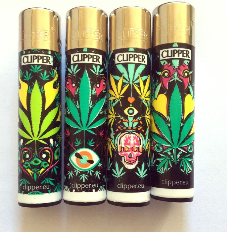 4 X CLIPPER WEED CANNABIS LEAF SKULL STYLE GENUINE FLINT LIGHTERS GAS REFILLABLE