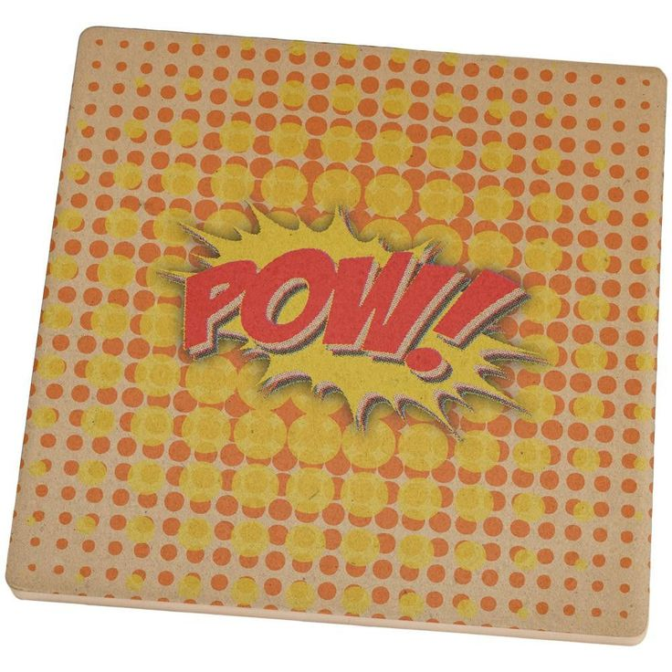 Comic Book Con POW Square Sandstone Coaster
