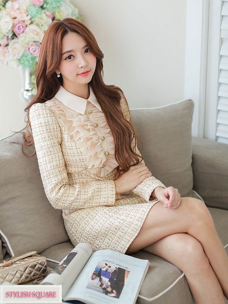 Flounced Long-Sleeved False Two Woolen Dress