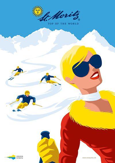 Illustrationen von Christoph Niemann Engadin St. Moritz, Graubünden, Schweiz