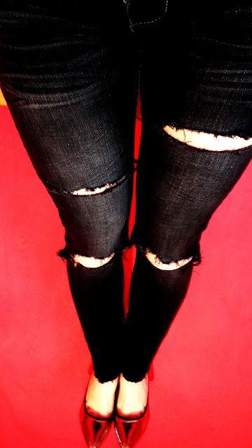 Lady at home DIY Blog: DIY dziurawe dżinsy DIY Ripped jeans