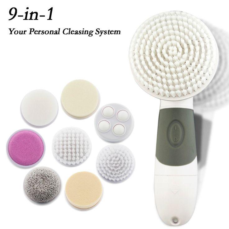 Haut Schönheit Pinsel-massagegerät 9 in 1 Elektrische Gesicht Waschen Maschine Gesichts Exfoliator Reiniger Körper Reinigung Wasserdicht Für Hautpflege