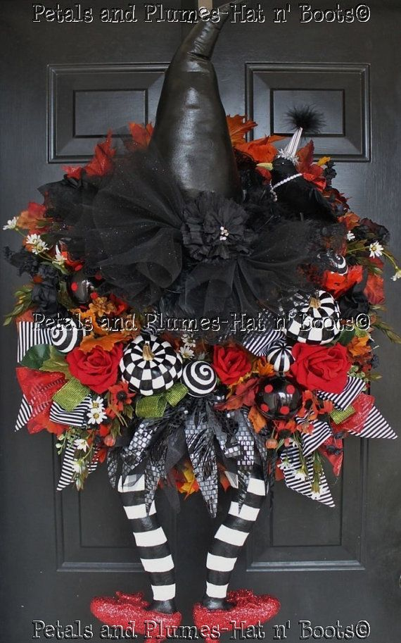 "Halloween Wreath   -                                     Witch Wreath  -  ""WiCkEd WiTcH w/her Ruby Red Slippers""   Follow us on Facebook: https://www.facebook.com/petalsnplumes"